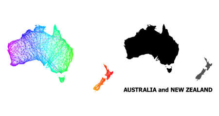 Wire frame and solid map of Australia and New Zealand. Vector model is created from map of Australia and New Zealand with intersected random lines, and has rainbow gradient. Ilustração