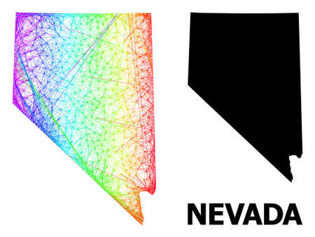 Wire frame and solid map of Nevada State. Vector model is created from map of Nevada State with intersected random lines, and has spectral gradient. Abstract lines form map of Nevada State.