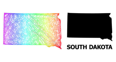 Wire frame and solid map of South Dakota State. Vector model is created from map of South Dakota State with intersected random lines, and has spectral gradient.
