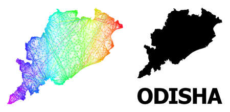Wire frame and solid map of Odisha State. Vector structure is created from map of Odisha State with intersected random lines, and has spectrum gradient.