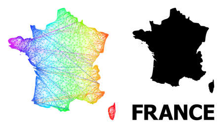 Wire frame and solid map of France. Vector structure is created from map of France with intersected random lines, and has spectral gradient. Abstract lines are combined into map of France.