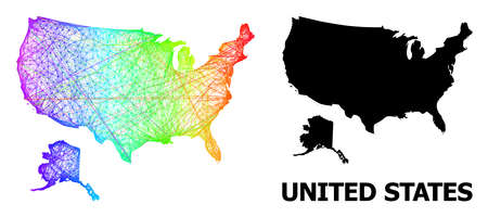 Network and solid map of USA and Alaska. Vector structure is created from map of USA and Alaska with intersected random lines, and has rainbow gradient. Abstract lines form map of USA and Alaska.