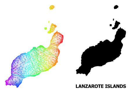 Wire frame and solid map of Lanzarote Islands. Vector model is created from map of Lanzarote Islands with intersected random lines, and has rainbow gradient.