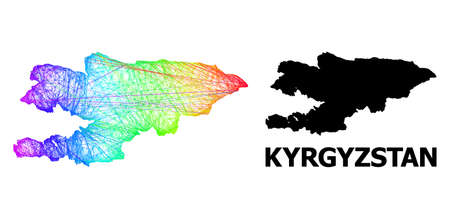Wire frame and solid map of Kyrgyzstan. Vector model is created from map of Kyrgyzstan with intersected random lines, and has spectrum gradient. Abstract lines are combined into map of Kyrgyzstan.