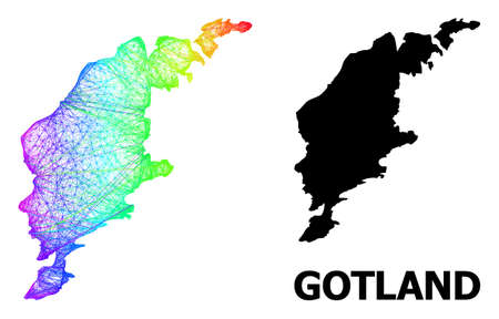 Net and solid map of Gotland Island. Vector structure is created from map of Gotland Island with intersected random lines, and has spectrum gradient. Abstract lines form map of Gotland Island. 向量圖像