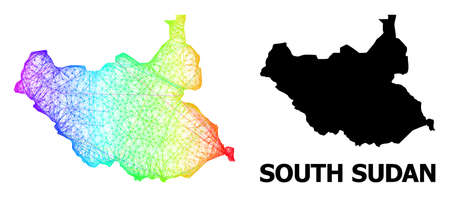 Network and solid map of South Sudan. Vector structure is created from map of South Sudan with intersected random lines, and has spectral gradient. Abstract lines are combined into map of South Sudan.