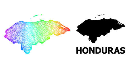 Wire frame and solid map of Honduras. Vector model is created from map of Honduras with intersected random lines, and has spectrum gradient. Abstract lines form map of Honduras.