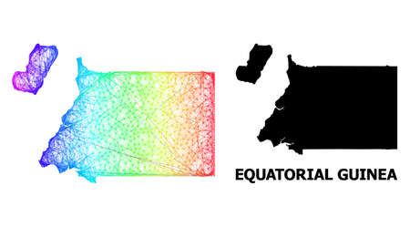 Wire frame and solid map of Equatorial Guinea. Vector structure is created from map of Equatorial Guinea with intersected random lines, and has bright spectral gradient.