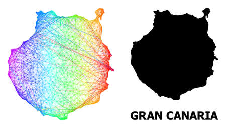 Wire frame and solid map of Gran Canaria. Vector structure is created from map of Gran Canaria with intersected random lines, and has spectral gradient. Abstract lines form map of Gran Canaria.