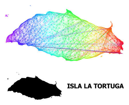 Wire frame and solid map of Isla La Tortuga. Vector structure is created from map of Isla La Tortuga with intersected random lines, and has rainbow gradient.
