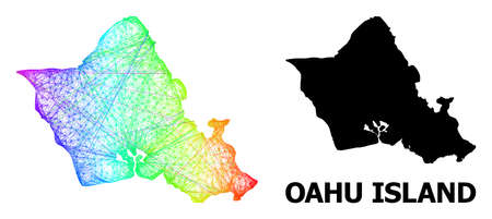 Network and solid map of Oahu Island. Vector model is created from map of Oahu Island with intersected random lines, and has bright spectral gradient. Abstract lines form map of Oahu Island.