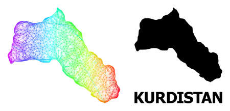 Network and solid map of Kurdistan. Vector model is created from map of Kurdistan with intersected random lines, and has spectral gradient. Abstract lines form map of Kurdistan. Çizim