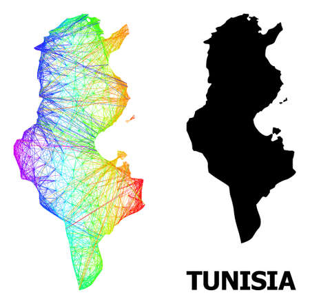 Net and solid map of Tunisia. Vector model is created from map of Tunisia with intersected random lines, and has spectral gradient. Abstract lines are combined into map of Tunisia. Ilustração