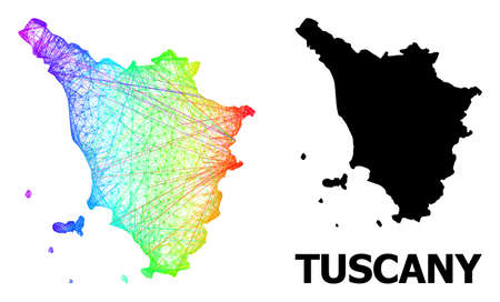 Network and solid map of Tuscany region. Vector structure is created from map of Tuscany region with intersected random lines, and has spectrum gradient. 免版税图像 - 156704391