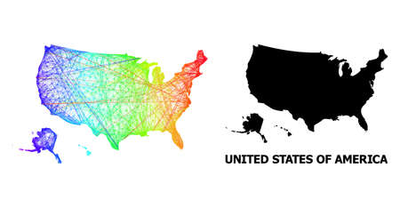 Wire frame and solid map of USA territories. Vector model is created from map of USA territories with intersected random lines, and has bright spectral gradient.