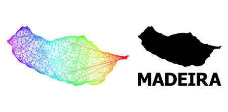 Network and solid map of Madeira Island. Vector structure is created from map of Madeira Island with intersected random lines, and has bright spectral gradient.
