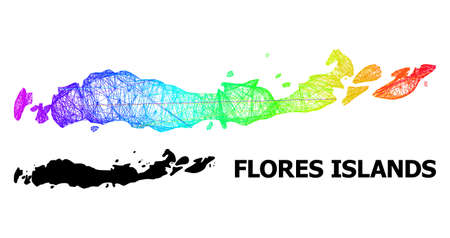 Wire frame and solid map of Indonesia - Flores Islands. Vector model is created from map of Indonesia - Flores Islands with intersected random lines, and has spectral gradient.