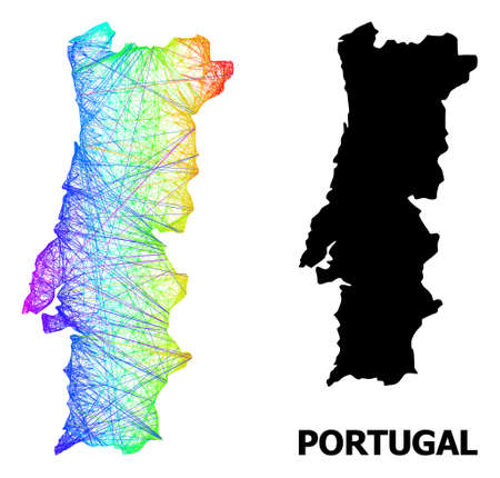 Wire frame and solid map of Portugal. Vector structure is created from map of Portugal with intersected random lines, and has spectral gradient. Abstract lines form map of Portugal.