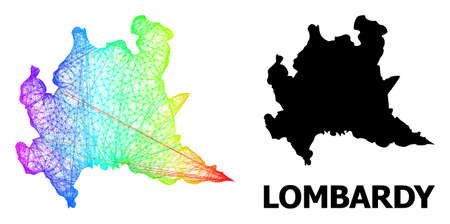 Wire frame and solid map of Lombardy region. Vector structure is created from map of Lombardy region with intersected random lines, and has rainbow gradient.