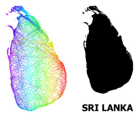Wire frame and solid map of Sri Lanka. Vector structure is created from map of Sri Lanka with intersected random lines, and has bright spectral gradient. Abstract lines form map of Sri Lanka.