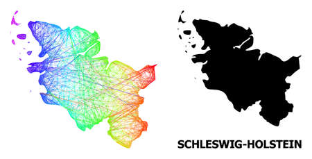 Wire frame and solid map of Schleswig-Holstein State. Vector model is created from map of Schleswig-Holstein State with intersected random lines, and has spectrum gradient.