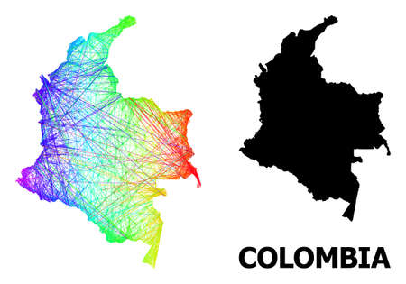 Wire frame and solid map of Colombia. Vector structure is created from map of Colombia with intersected random lines, and has bright spectral gradient. Abstract lines form map of Colombia.