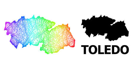 Wire frame and solid map of Toledo Province. Vector model is created from map of Toledo Province with intersected random lines, and has rainbow gradient.