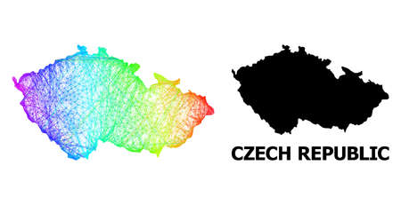 Network and solid map of Czech Republic. Vector structure is created from map of Czech Republic with intersected random lines, and has bright spectral gradient.