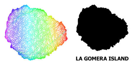 Wire frame and solid map of La Gomera Island. Vector structure is created from map of La Gomera Island with intersected random lines, and has spectrum gradient.