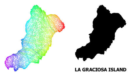Wire frame and solid map of La Graciosa Island. Vector model is created from map of La Graciosa Island with intersected random lines, and has rainbow gradient.