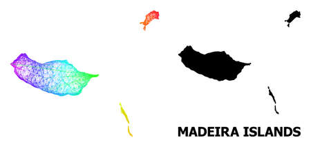 Network and solid map of Madeira Islands. Vector model is created from map of Madeira Islands with intersected random lines, and has bright spectral gradient.