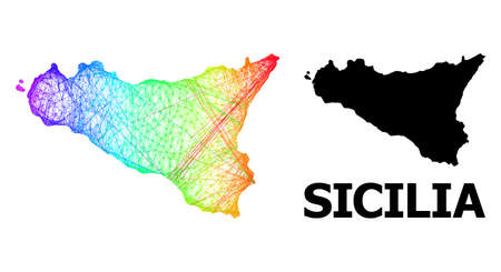 Wire frame and solid map of Sicilia Island. Vector structure is created from map of Sicilia Island with intersected random lines, and has bright spectral gradient.