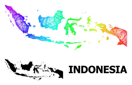 Wire frame and solid map of Indonesia. Vector structure is created from map of Indonesia with intersected random lines, and has spectrum gradient. Abstract lines form map of Indonesia. 向量圖像