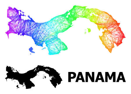 Wire frame and solid map of Panama. Vector structure is created from map of Panama with intersected random lines, and has spectral gradient. Abstract lines form map of Panama.
