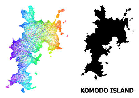 Wire frame and solid map of Komodo Island. Vector structure is created from map of Komodo Island with intersected random lines, and has spectrum gradient. 向量圖像