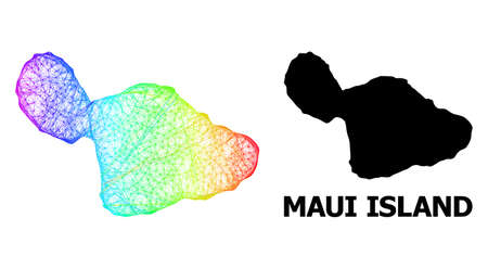 Wire frame and solid map of Maui Island. Vector model is created from map of Maui Island with intersected random lines, and has spectrum gradient. Abstract lines are combined into map of Maui Island.