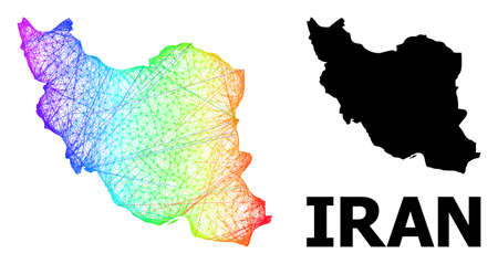 Wire frame and solid map of Iran. Vector model is created from map of Iran with intersected random lines, and has bright spectral gradient. Abstract lines are combined into map of Iran. Ilustração