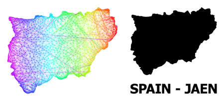 Wire frame and solid map of Jaen Spanish Province. Vector model is created from map of Jaen Spanish Province with intersected random lines, and has spectral gradient. 일러스트