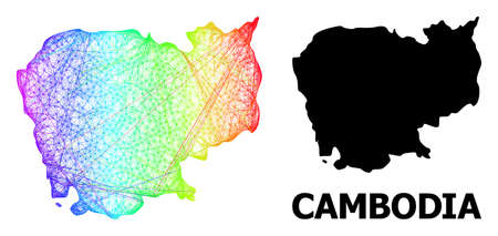 Wire frame and solid map of Cambodia. Vector model is created from map of Cambodia with intersected random lines, and has rainbow gradient. Abstract lines form map of Cambodia.