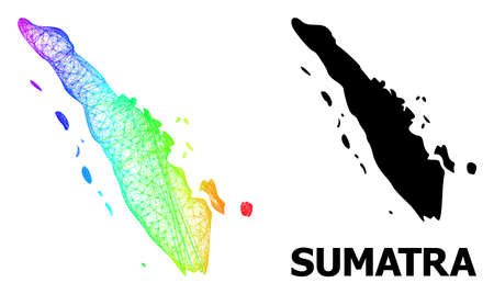 Network and solid map of Sumatra Island. Vector structure is created from map of Sumatra Island with intersected random lines, and has rainbow gradient. Abstract lines form map of Sumatra Island. 向量圖像