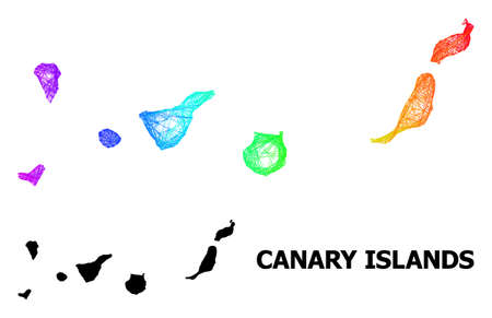 Net and solid map of Canary Islands. Vector model is created from map of Canary Islands with intersected random lines, and has spectral gradient.