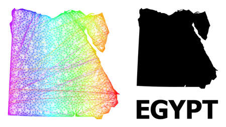 Wire frame and solid map of Egypt. Vector model is created from map of Egypt with intersected random lines, and has rainbow gradient. Abstract lines form map of Egypt.