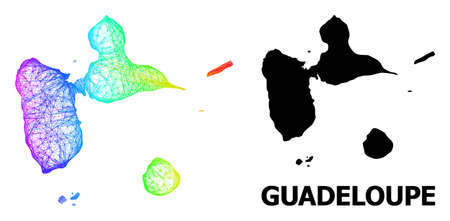Net and solid map of Guadeloupe. Vector model is created from map of Guadeloupe with intersected random lines, and has rainbow gradient. Abstract lines are combined into map of Guadeloupe.