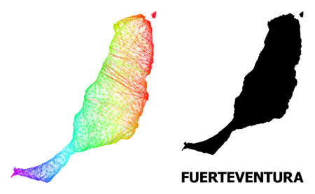 Network and solid map of Fuerteventura Island. Vector model is created from map of Fuerteventura Island with intersected random lines, and has spectral gradient. Illustration