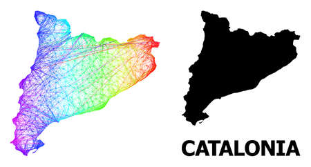 Wire frame and solid map of Catalonia. Vector structure is created from map of Catalonia with intersected random lines, and has spectrum gradient. Abstract lines are combined into map of Catalonia.
