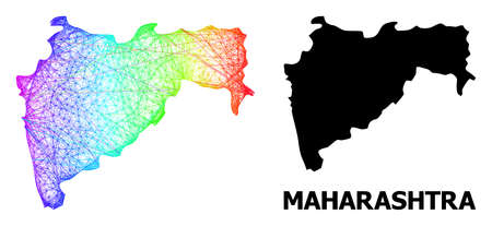 Network and solid map of Maharashtra State. Vector structure is created from map of Maharashtra State with intersected random lines, and has rainbow gradient. Ilustração