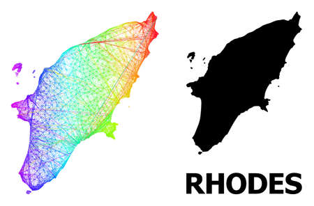 Net and solid map of Rhodes Island. Vector model is created from map of Rhodes Island with intersected random lines, and has rainbow gradient. Abstract lines form map of Rhodes Island. Иллюстрация