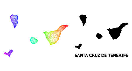 Net and solid map of Santa Cruz de Tenerife Province. Vector model is created from map of Santa Cruz de Tenerife Province with intersected random lines, and has rainbow gradient.