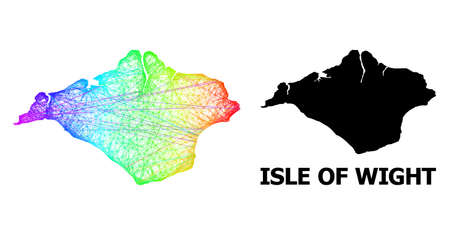 Net and solid map of Isle of Wight. Vector model is created from map of Isle of Wight with intersected random lines, and has spectral gradient. Abstract lines are combined into map of Isle of Wight. Vetores
