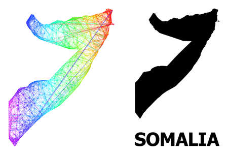 Net and solid map of Somalia. Vector structure is created from map of Somalia with intersected random lines, and has bright spectral gradient. Abstract lines form map of Somalia.